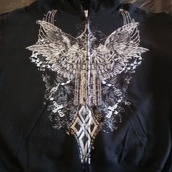 Rhinestone Hoodie with Wings