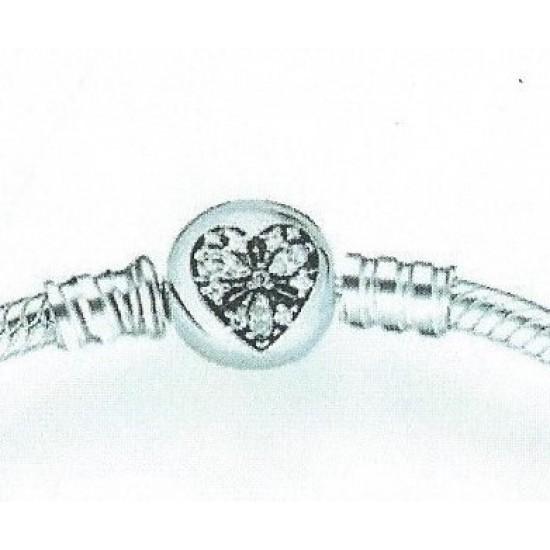 Panda Sterling Silver CZ Heart Charm Bracelet