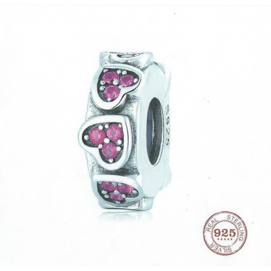 Panda Sterling Silver Pink CZ Heart Spacer