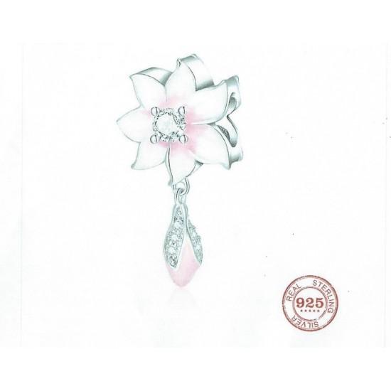 Panda Sterling Silver Pink Flower Dangle Charm