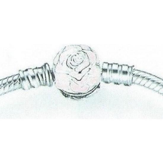 Panda Sterling Silver Pink Rose Bow Charm Bracelet