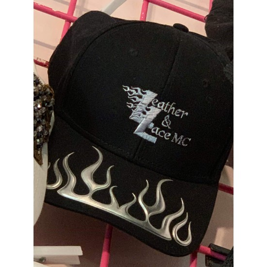 Black with Silver Flames Cap